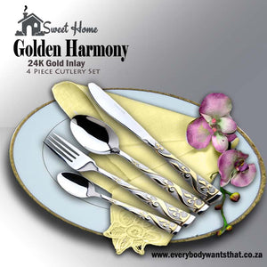 Golden Harmony 4pcs Cultery Set