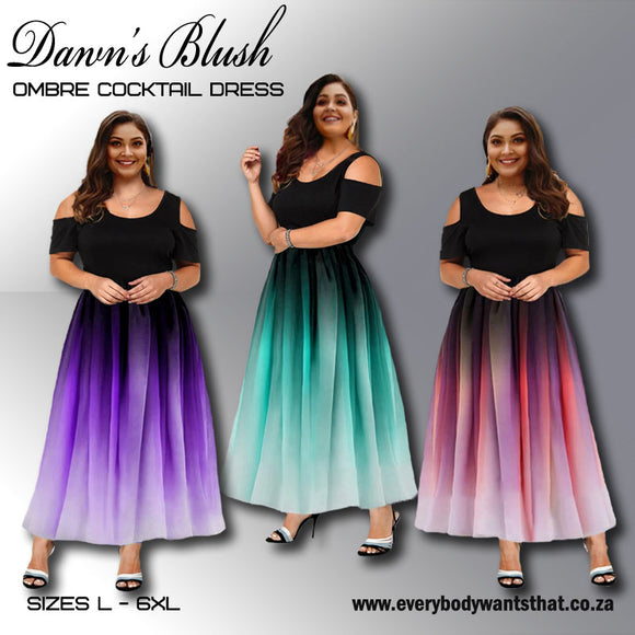 Dawn's Blush Ombré Cocktail Dress (Sizes L-6XL)