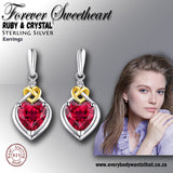 Forever Sweetheart Ruby & Crystal 925 Sterling Silver Earrings