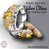 Bee Mine Yellow Citrine Sterling Silver Ring (Size 6-10)