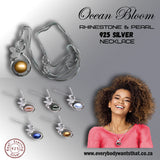 Ocean Bloom Pear & Crystal 925 Sterling Silver Necklace