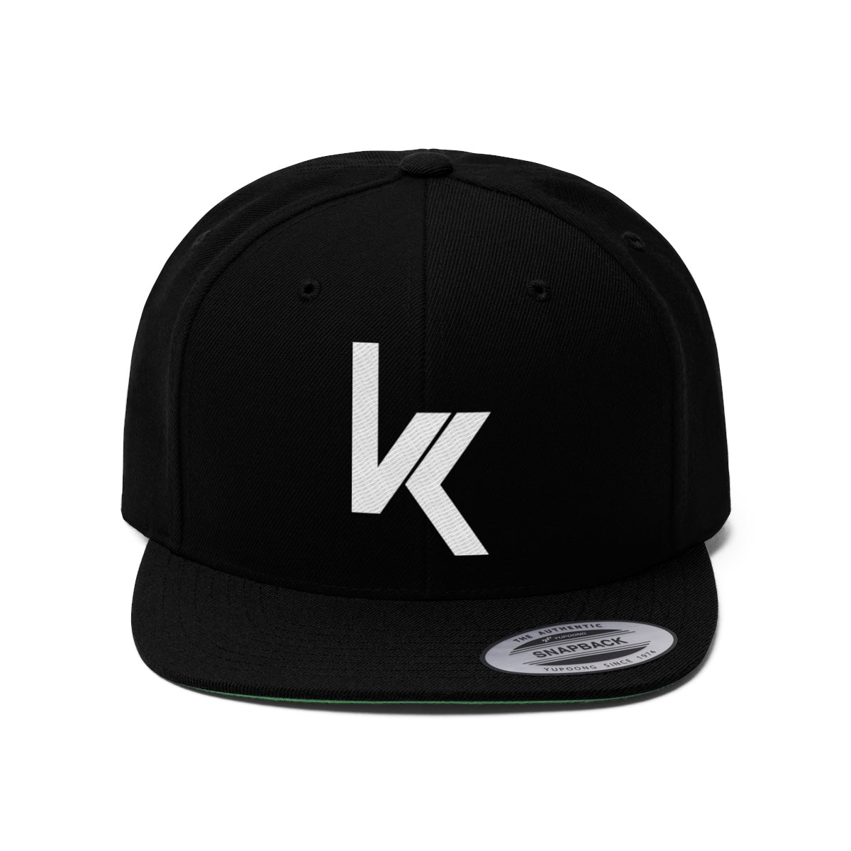 VK Logo Black Snapback Flat Bill Hat