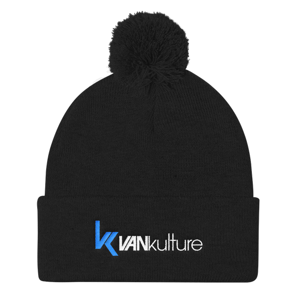 VANkulture Black and 2 tone Pom Pom Knit Beanie