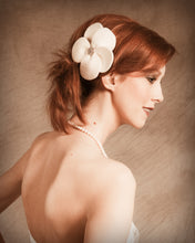 Load image into Gallery viewer, Velour Cut out Flower with Vintage inspired Brooch Fascinator