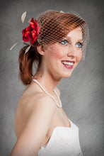 Load image into Gallery viewer, Retro Inspired Bandeau Veil with Fabric Flower ,Feathers and Vintage Inspired Brooch