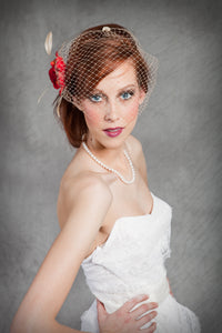 Retro Inspired Bandeau Veil with Fabric Flower ,Feathers and Vintage Inspired Brooch