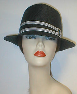 Panama Teardrop Fedora with Stripped Grosgrain Bands and Silver Buckle.