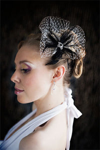 Birdcage Netting with Hackle Feathers and Vintage Style Brooch.
