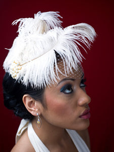 Basic Side Gather Veil with Double Ostrich Feathers With Pearl Brooch Accent