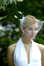 Load image into Gallery viewer, Basic bandeau birdcage veil with Feather Fascinator #CO65