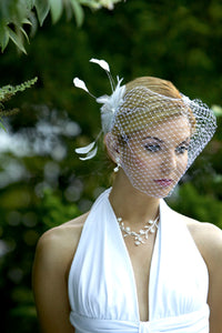 Basic bandeau birdcage veil with Feather Fascinator #CO65