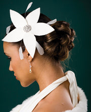 Load image into Gallery viewer, Velour Cocktail Flower with Swarovski Crystal Brooch and Stripped Coque Feathers.