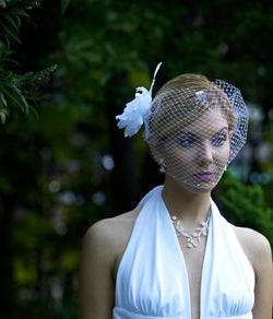 Swarovski Crystal Bandeau Birdcage veils with Feather Fascinator