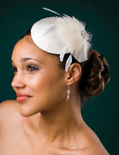 Load image into Gallery viewer, Cocktail Cap with Feather Accent and Swarovski Circled with Swarovski crystals.