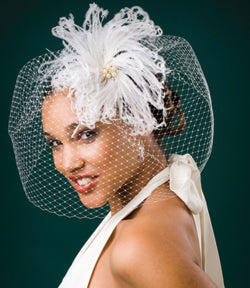 Birdcage Full Face High Fashion Veil with Vintage Ivory Ostrich Feathers with Gold Vintage Inspired Brooch with Pearls and Feathers.