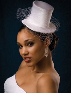 Mini Bridal Satin Cocktail Hat with Netting and Vintage Accent.