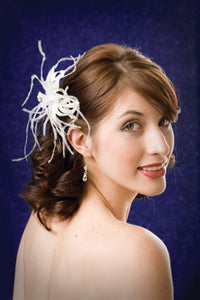 Satin Flower with Pearly Stamen and Cut Out Leaves Accented with Ostrich Wisps