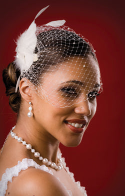 Basic Side Gather Birdcage Veil with Scattered Crystals and Feather with Vintage Style Rhinestone Brooch