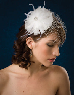 Basic Side Gather Birdcage Veil with Circular Feathers with Ostrich Flyaway's and Rhinestone Brooch