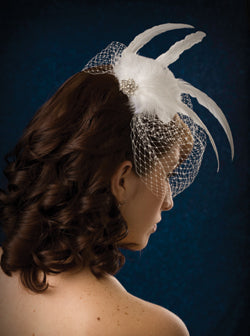 Basic Side Gather Birdcage Veil with Feather Plumes , Long Coque Feathers and Rhinestone Brooch.