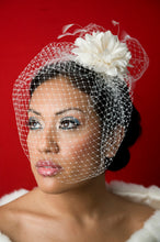Load image into Gallery viewer, Basic Birdcage Blusher with Silk flower with Coque feathers and Birdcage Pouf
