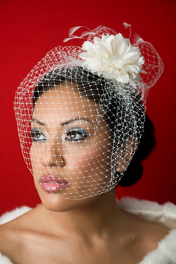 Basic Birdcage Blusher with Silk flower with Coque feathers and Birdcage Pouf