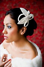 Load image into Gallery viewer, Velour Sculptured Fascinator with Rhinestone Brooch.