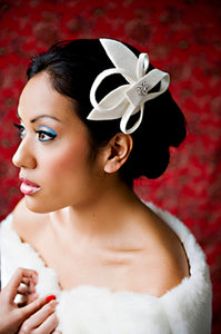 Velour Sculptured Fascinator with Rhinestone Brooch.