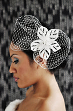 Load image into Gallery viewer, Satin Cut Out Flower with Pearly Stamens with worn with Birdcage Pouf