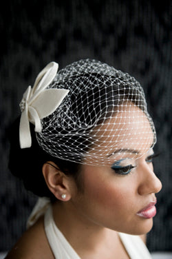 Basic Side Gather Veil with Velour Sculptured Fascinator with Rhinestone Brooch