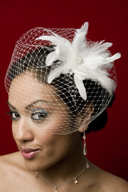 Basic Birdcage Flyaway with Coque Feathers with Swarovski Crystal Brooch Center