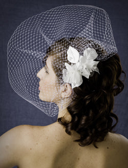 Scallop Birdcage Veil with Double Silk and Organza Flowers with Pearly Stamens
