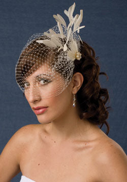 Basic Side Gather Veil Stripped Coque with Coque Feathers and Pearl Accent.