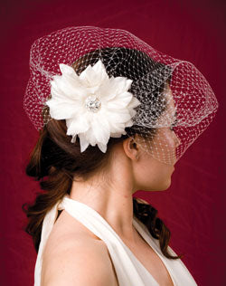 Long Basic Side Gather Veil with Silk and Organza Flower with Vintage Style Rhinestone Brooch
