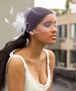 Swarovski Crystal Bandeau Birdcage Veils with Feather Cocktail Piece