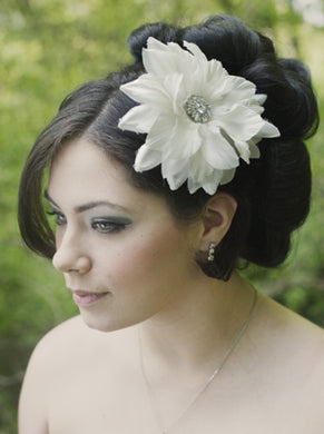 Silk and organza flower with Vintage Style Rhinestone brooch