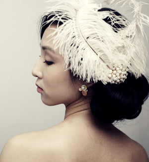 Double Ostrich Feathers with Pearl Brooch Accent