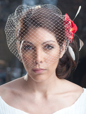 French net Champange birdcage bandeau veil. #CO194 Rose petal Flower with stripped Coque feathers and vintage style brooch