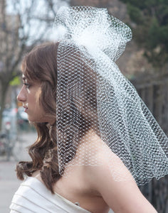 High Fashion French Net Birdcage Veil with Gathered Pouf