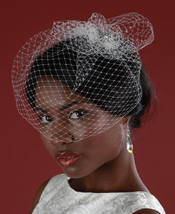 Basic Mini Birdcage Worn with Birdcage Pouf with Vintage Inspired Brooch