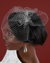 Load image into Gallery viewer, Basic Mini Birdcage Worn with Birdcage Pouf with Vintage Inspired Brooch
