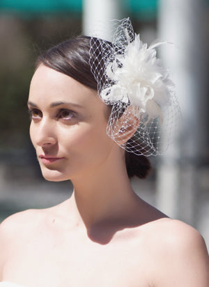 Organza Flower Fascinator with Hackle Feathers and Birdcage Pouf