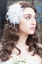Load image into Gallery viewer, Organza Flower with Ostrich Feathers and Vintage Inspired Brooch