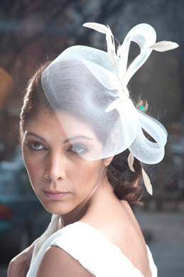 Horsehair Fascinator with Stripped Coque Feathers and Vintage Inspired Brooch
