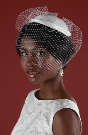 Bridal Cap with Birdcage Veiling and Pouf with Crystal Edging