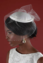Load image into Gallery viewer, Bridal Cap with Birdcage Veiling and Pouf with Crystal Edging