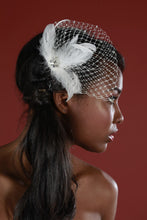 Load image into Gallery viewer, Feather and Birdcage Pouf Fascinator with Crystals and Vintage Inspired Crystal Brooch.