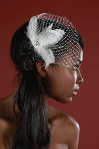Feather and Birdcage Pouf Fascinator with Crystals and Vintage Inspired Crystal Brooch.