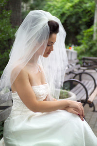 Four Tier Scalloped Veil with pearl and Rhinestone accent