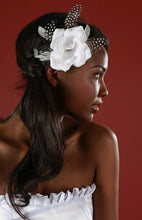 Load image into Gallery viewer, Petal Rose with Vintage Inspired Broach ,Peasant and Coque feathers.